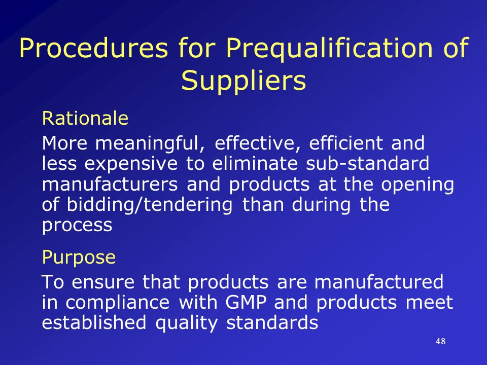 Procedures for Prequalification of Suppliers