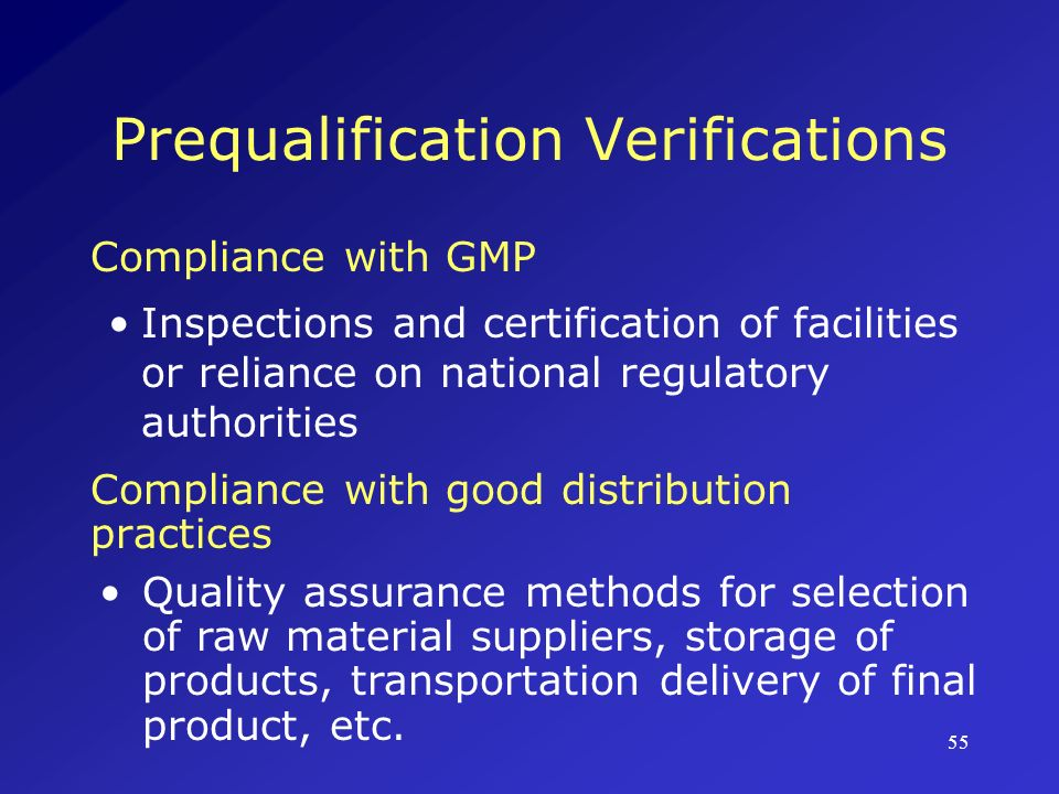 Prequalification Verifications