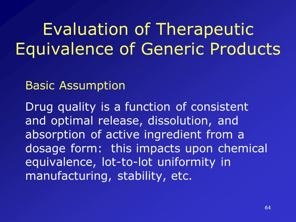 Evaluation of Therapeutic Equivalence of Generic Products