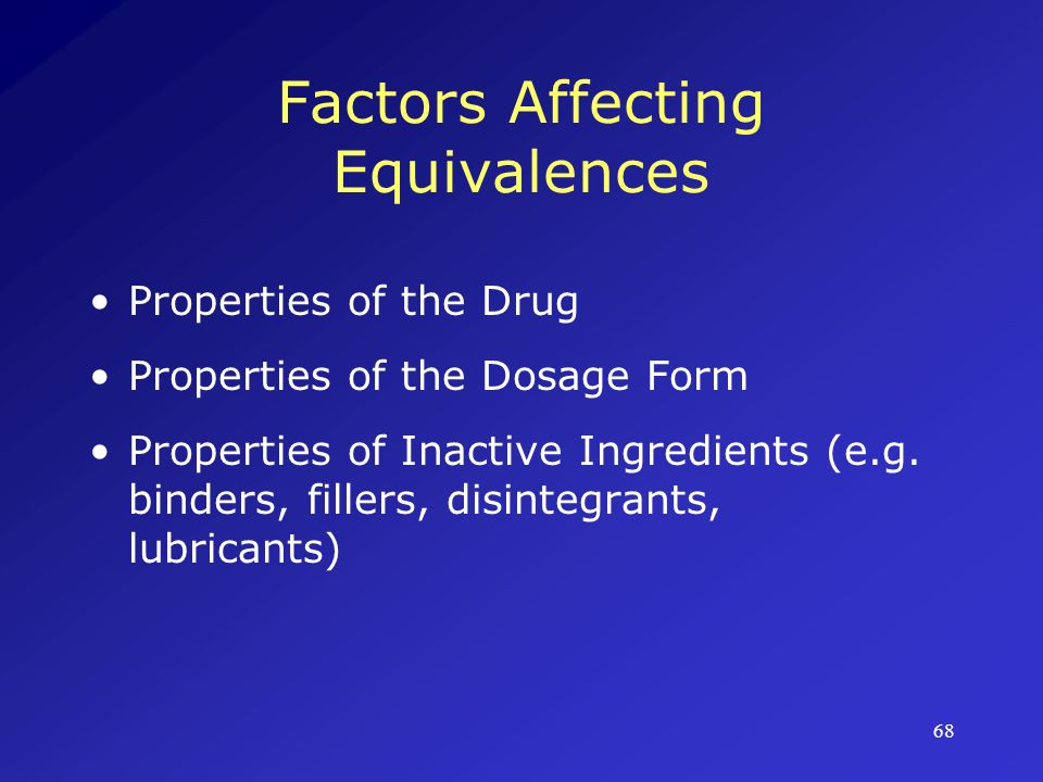 Factors Affecting Equivalences
