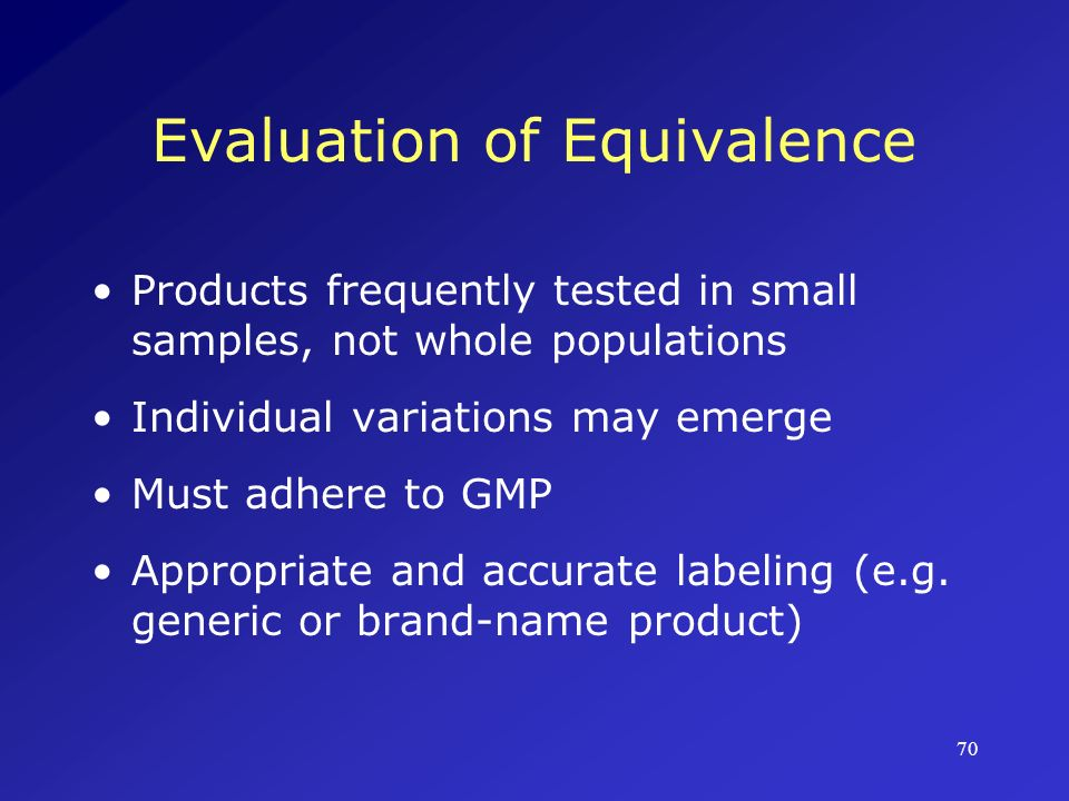 Evaluation of Equivalence