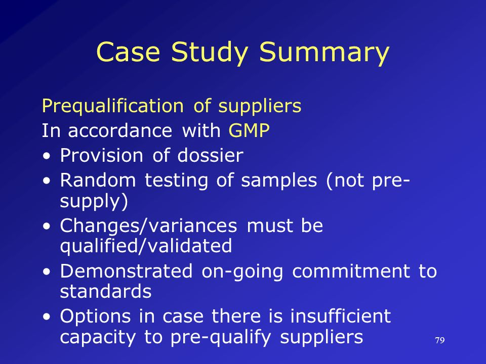 Case Study Summary Prequalification of suppliers