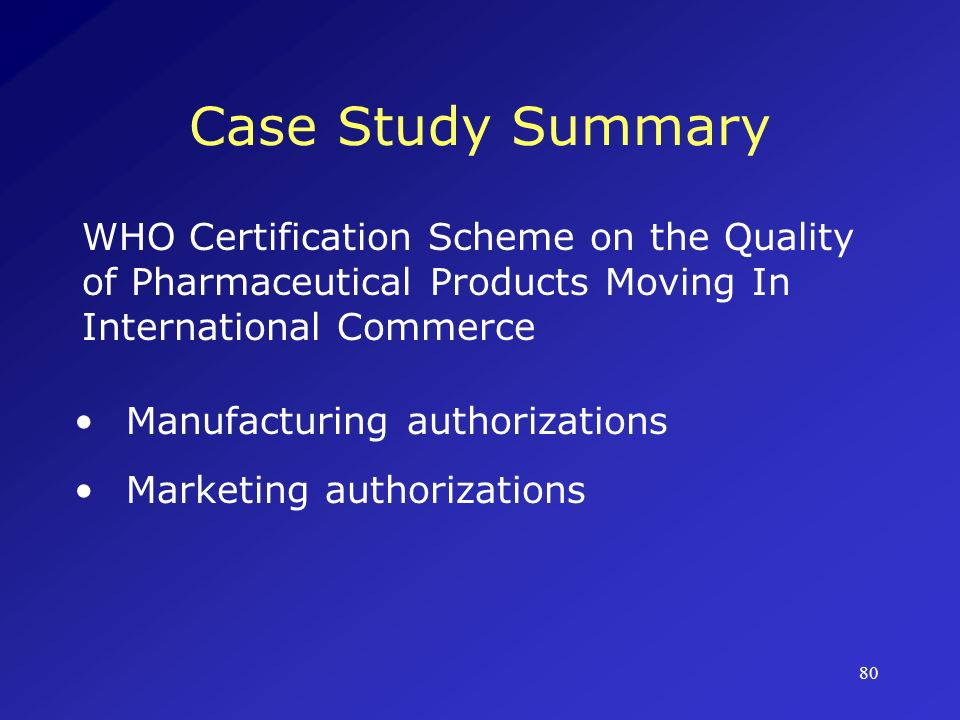 Case Study Summary WHO Certification Scheme on the Quality of Pharmaceutical Products Moving In International Commerce.