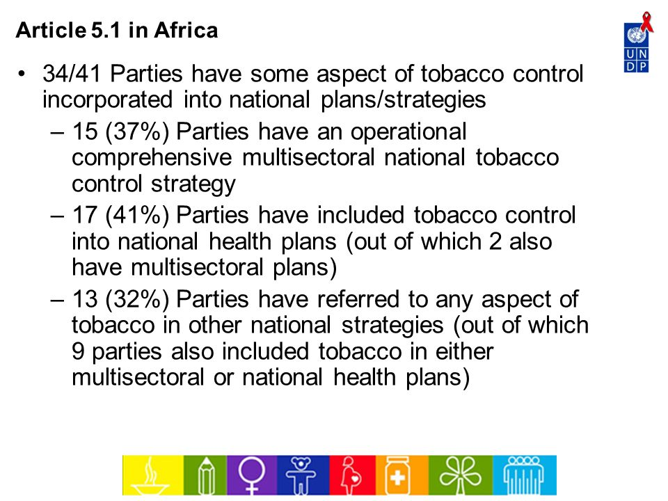 Article 5.1 in Africa 34/41 Parties have some aspect of tobacco control incorporated into national plans/strategies.