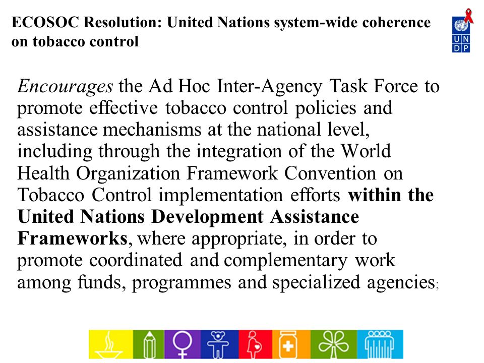 ECOSOC Resolution: United Nations system-wide coherence on tobacco control
