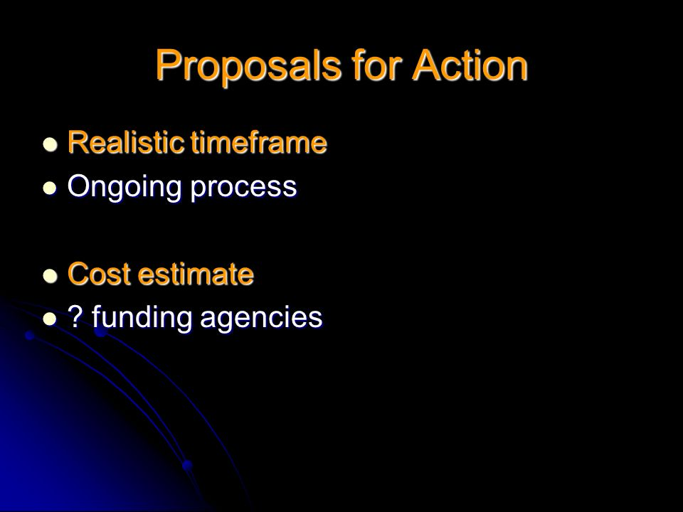 Proposals for Action Realistic timeframe Ongoing process Cost estimate