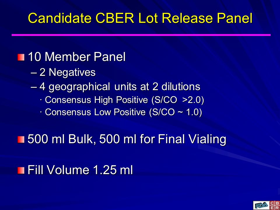 Candidate CBER Lot Release Panel