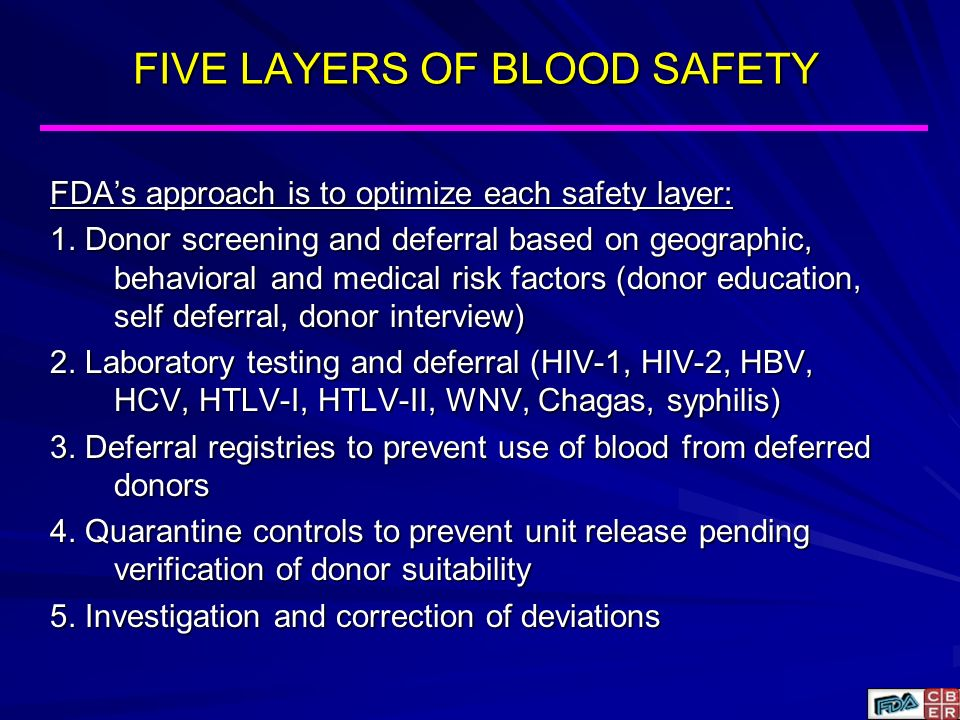 FIVE LAYERS OF BLOOD SAFETY