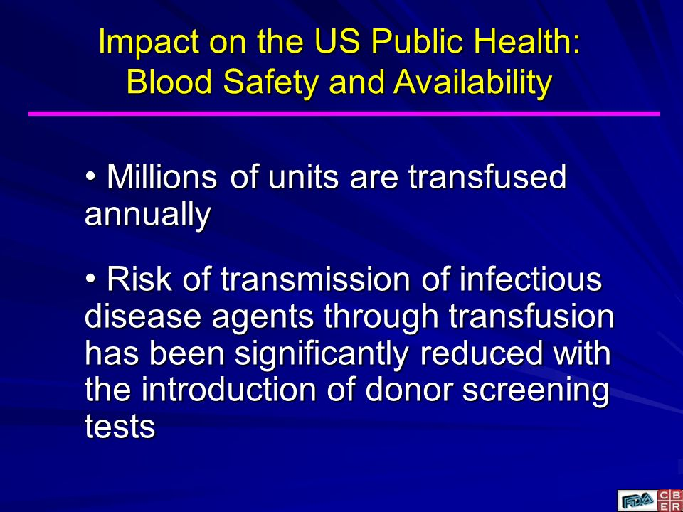 Impact on the US Public Health: Blood Safety and Availability