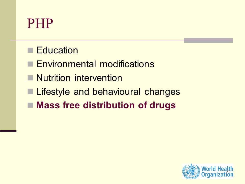 PHP Education Environmental modifications Nutrition intervention