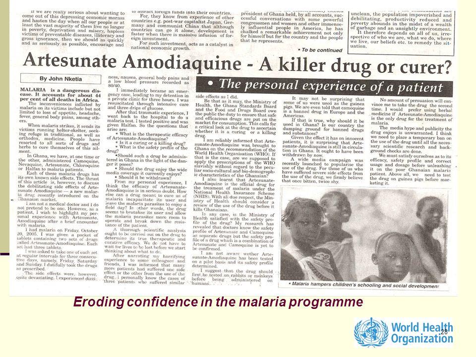Eroding confidence in the malaria programme