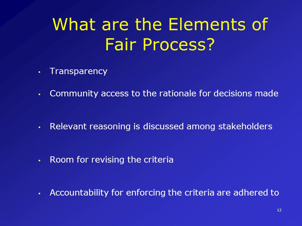What are the Elements of Fair Process