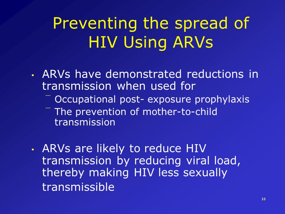 Preventing the spread of HIV Using ARVs