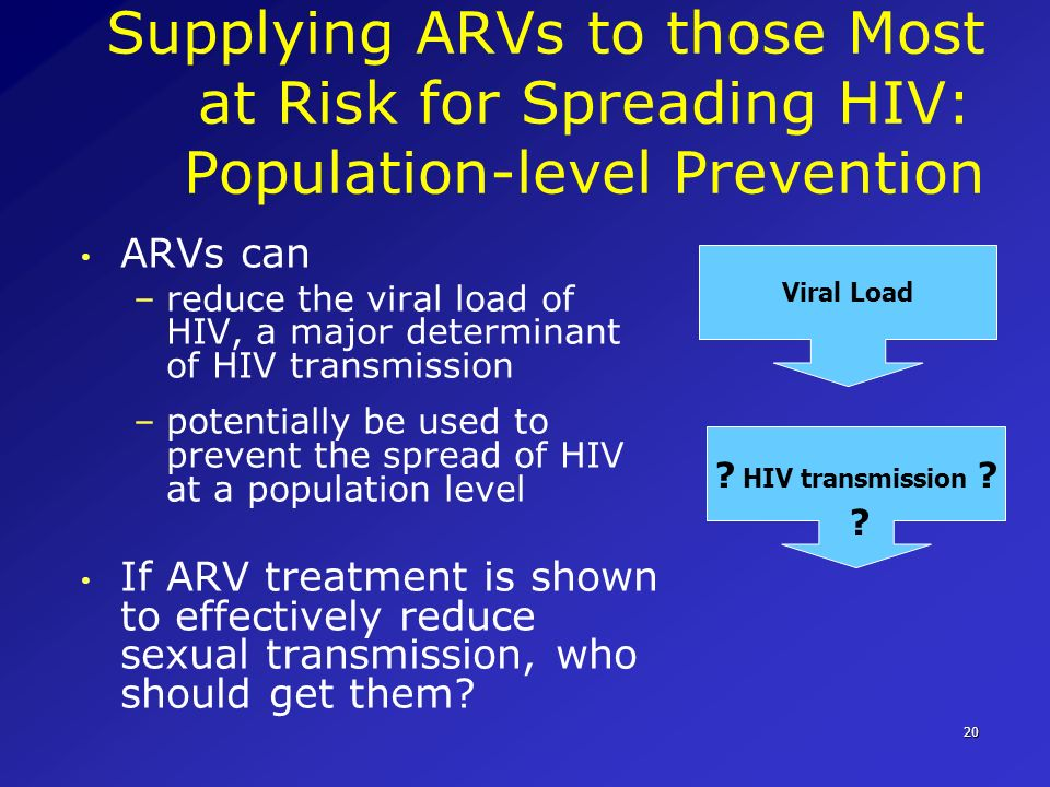Supplying ARVs to those Most at Risk for Spreading HIV: Population-level Prevention