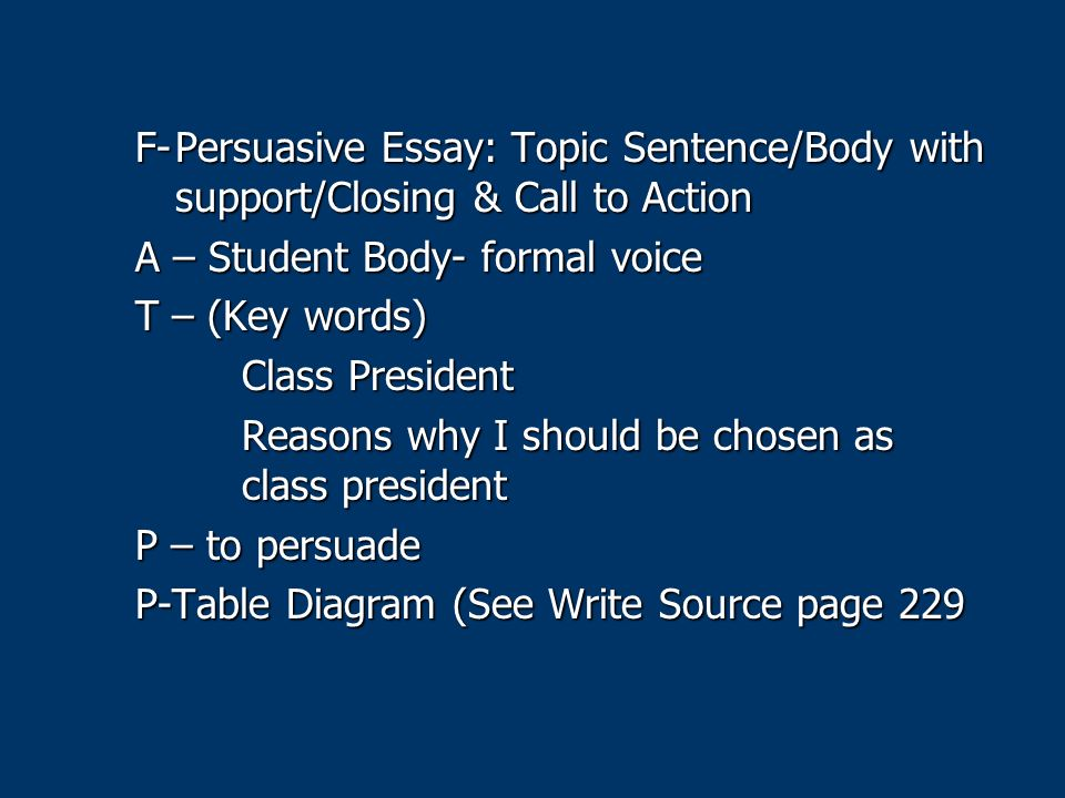 persuasive essay topics and reasons Persuasive essay outline explanation structure of a five paragraph persuasive essay introduction (3-5 sentences) hook: grab the reader's attention with a quote, scenario, question, vivid description, etc must be related to your topic.