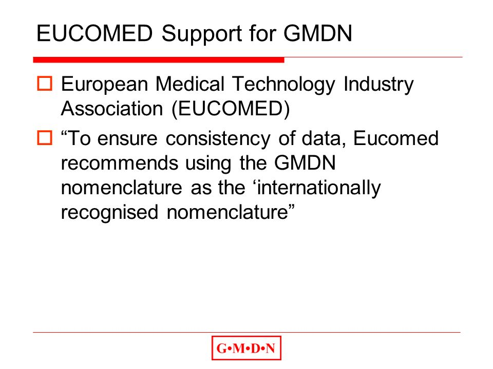 EUCOMED Support for GMDN