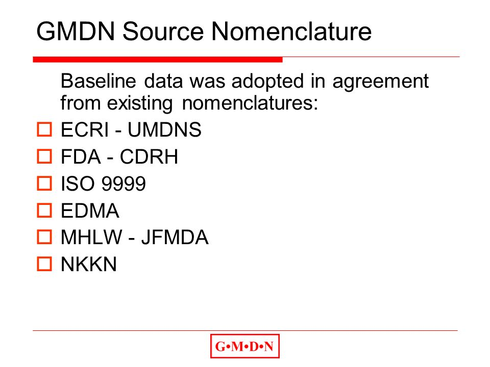 GMDN Source Nomenclature