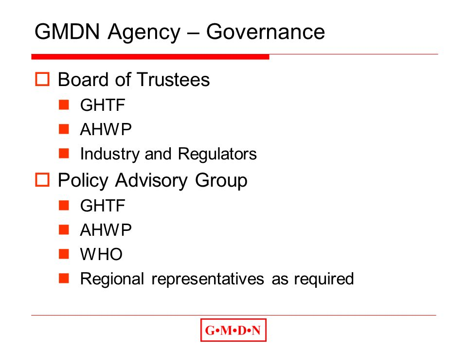 GMDN Agency – Governance