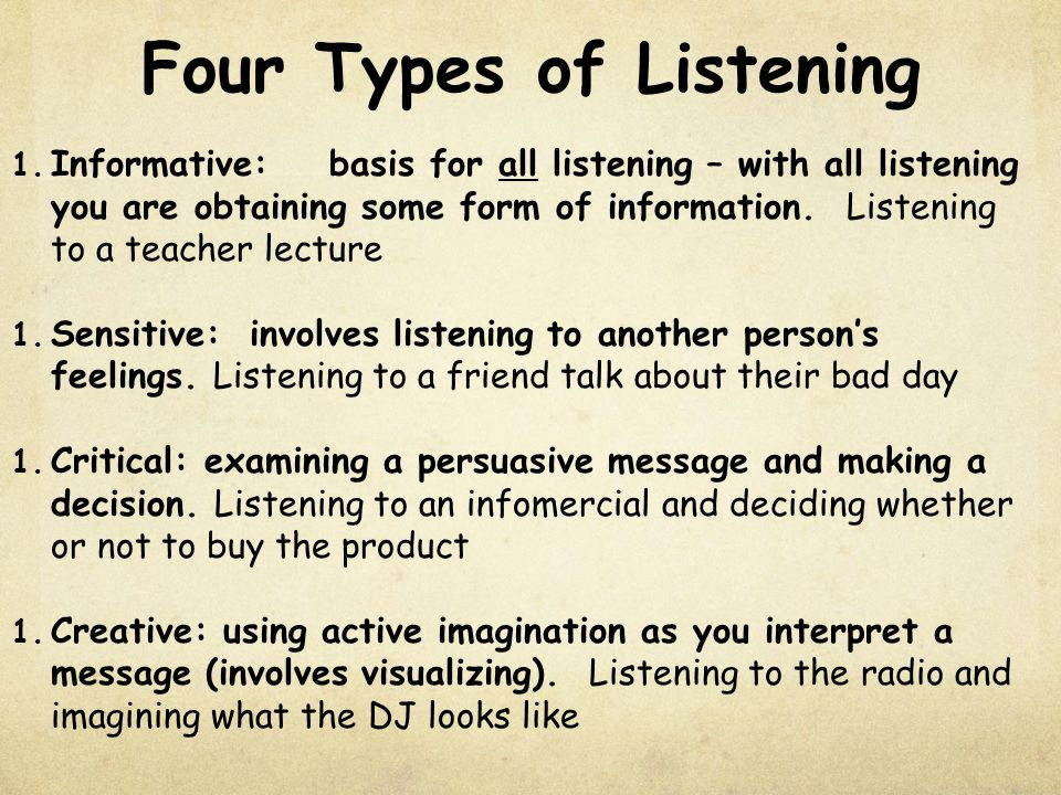 styles of effective listening Good listening skills are critical to effective  tion style that is built on mutual respect  effective communication skills are particularly .