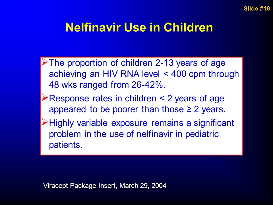 Nelfinavir Use in Children