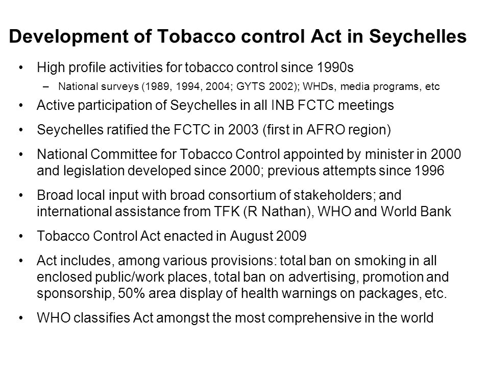 Development of Tobacco control Act in Seychelles