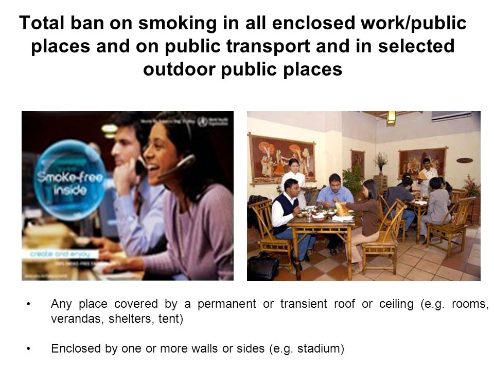 Total ban on smoking in all enclosed work/public places and on public transport and in selected outdoor public places