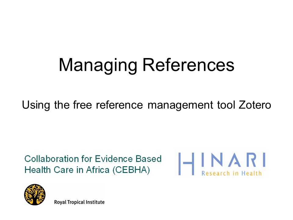 Using the free reference management tool Zotero
