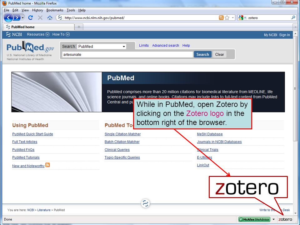 While in PubMed, open Zotero by clicking on the Zotero logo in the bottom right of the browser.