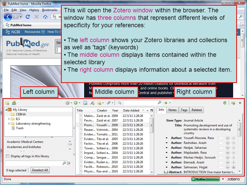 This will open the Zotero window within the browser