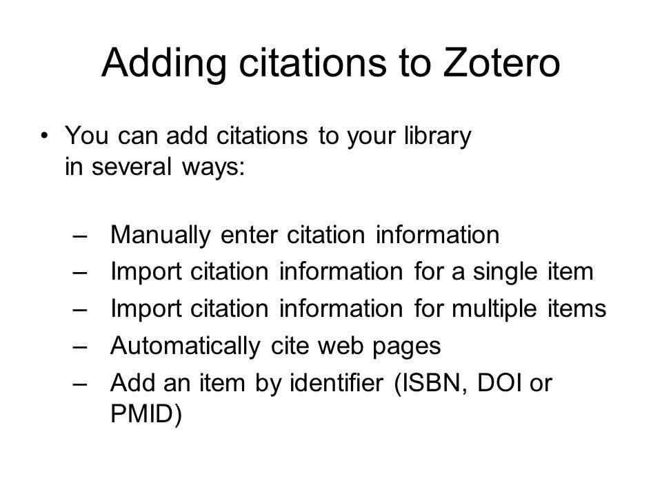 Adding citations to Zotero