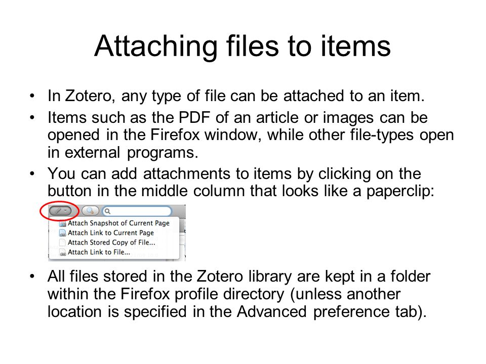Attaching files to items
