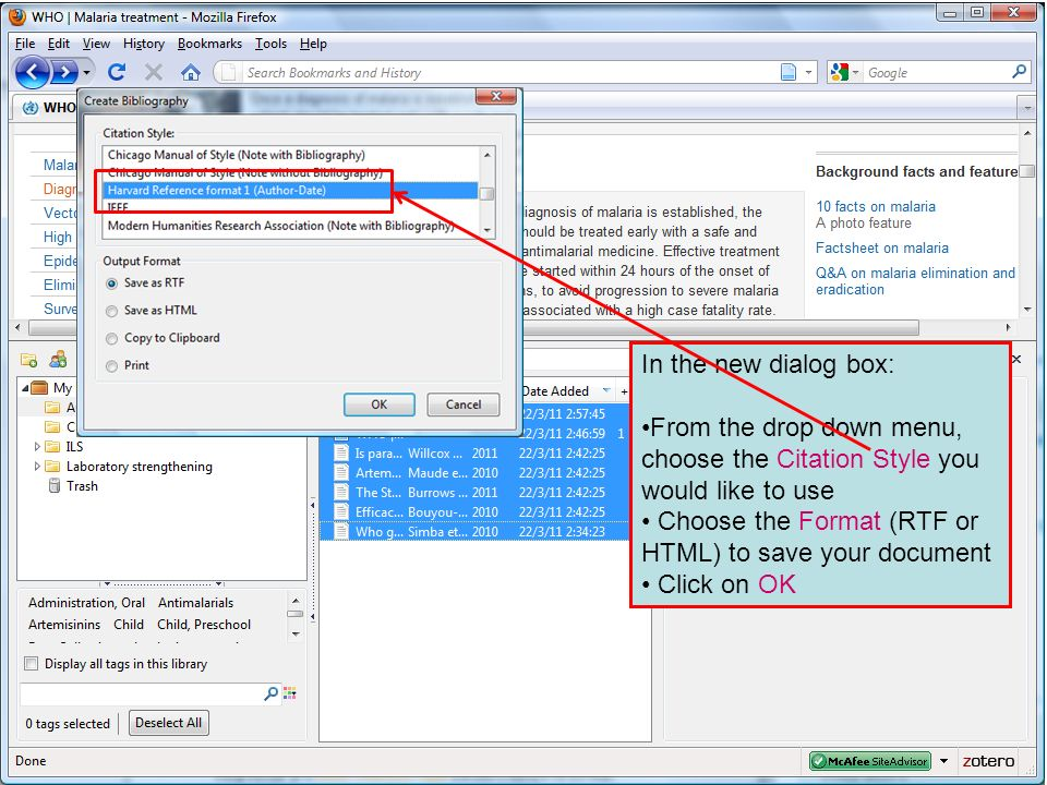 In the new dialog box: From the drop down menu, choose the Citation Style you would like to use.