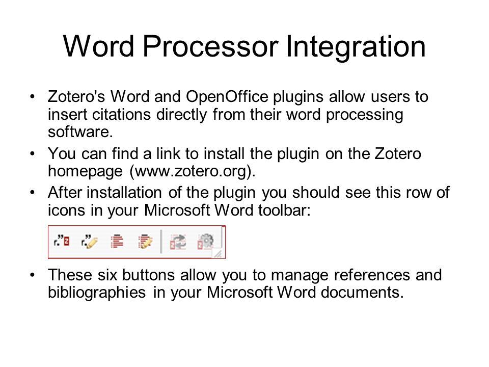 Word Processor Integration