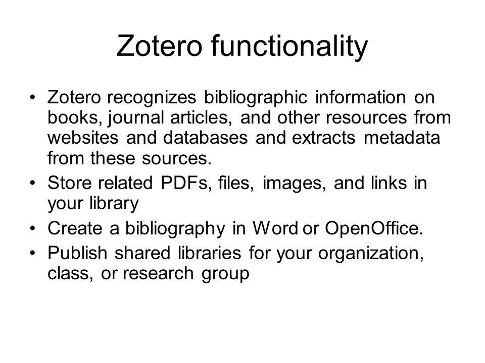 Zotero functionality