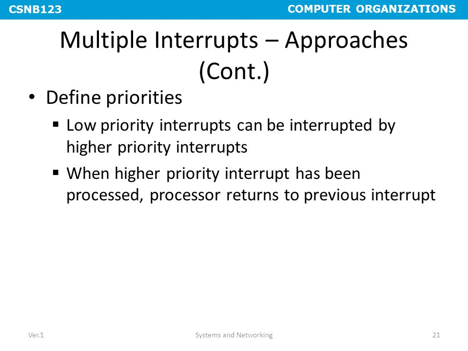 Multiple Interrupts – Approaches (Cont.)