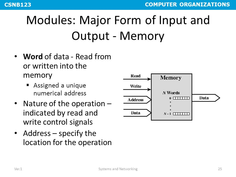 Modules: Major Form of Input and Output - Memory