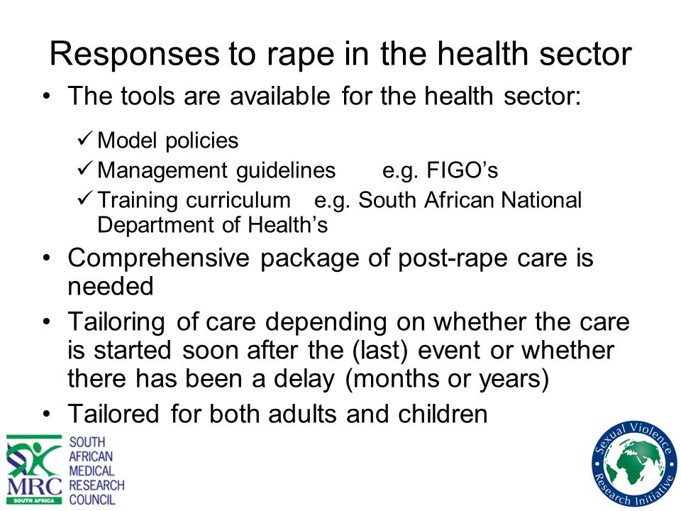 Responses to rape in the health sector