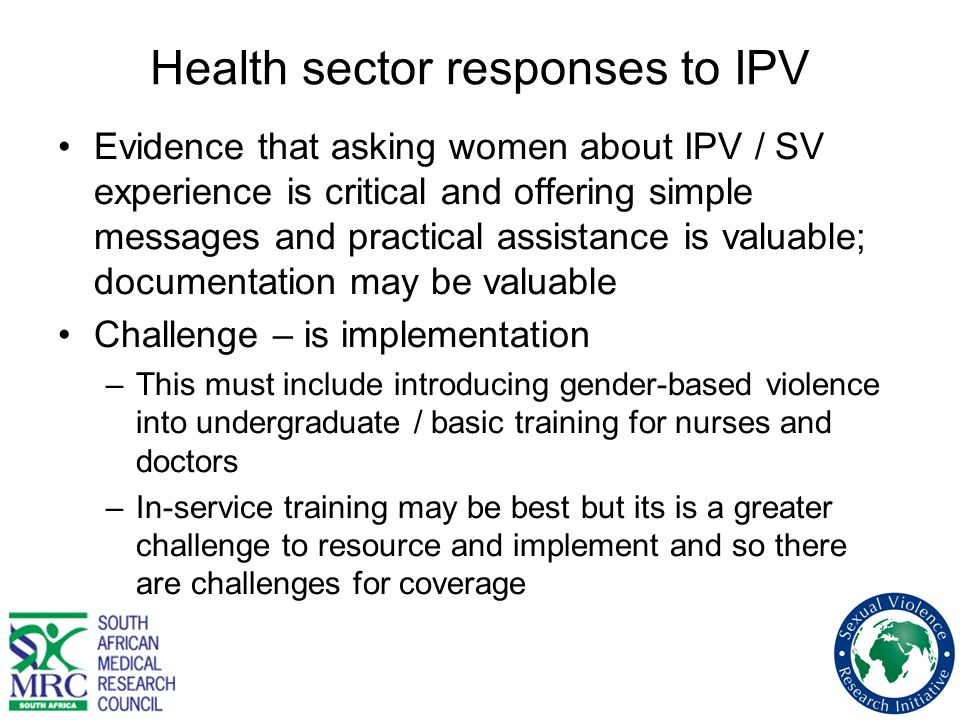 Health sector responses to IPV