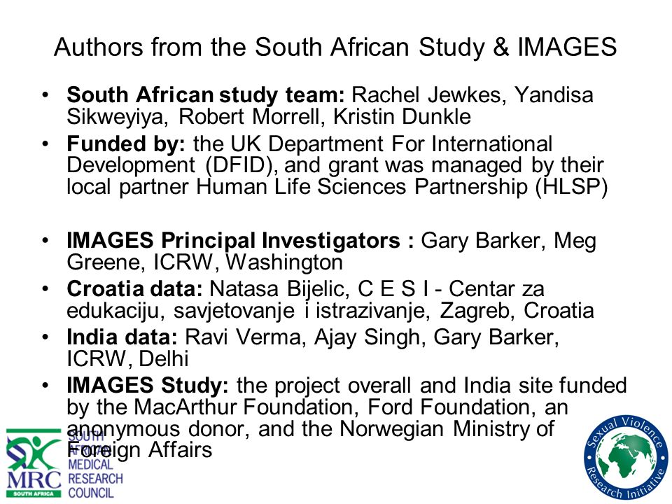 Authors from the South African Study & IMAGES