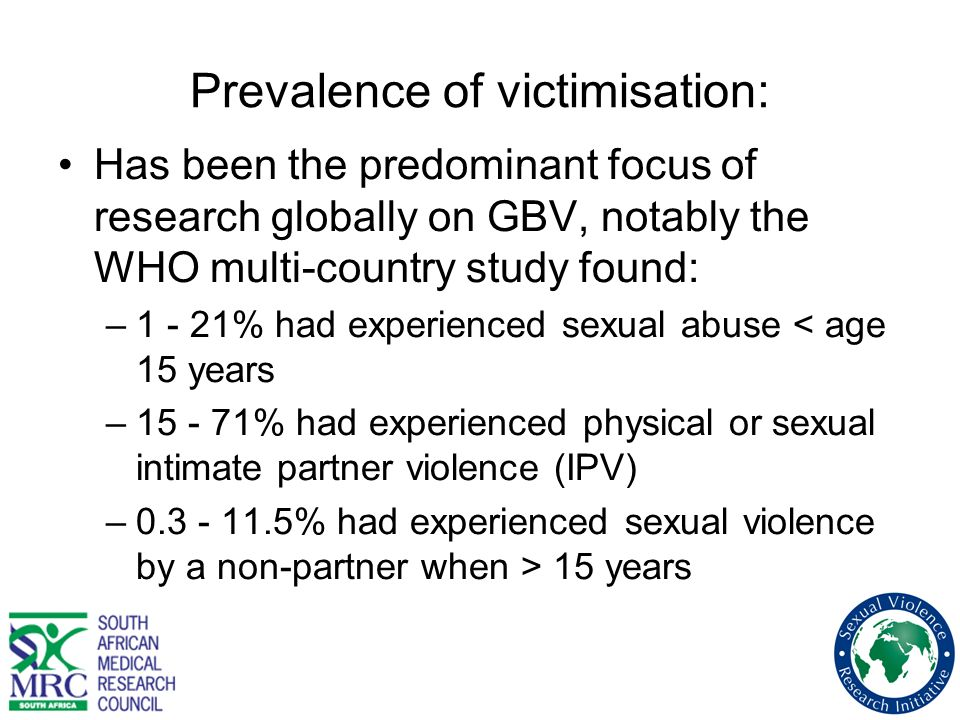 Prevalence of victimisation: