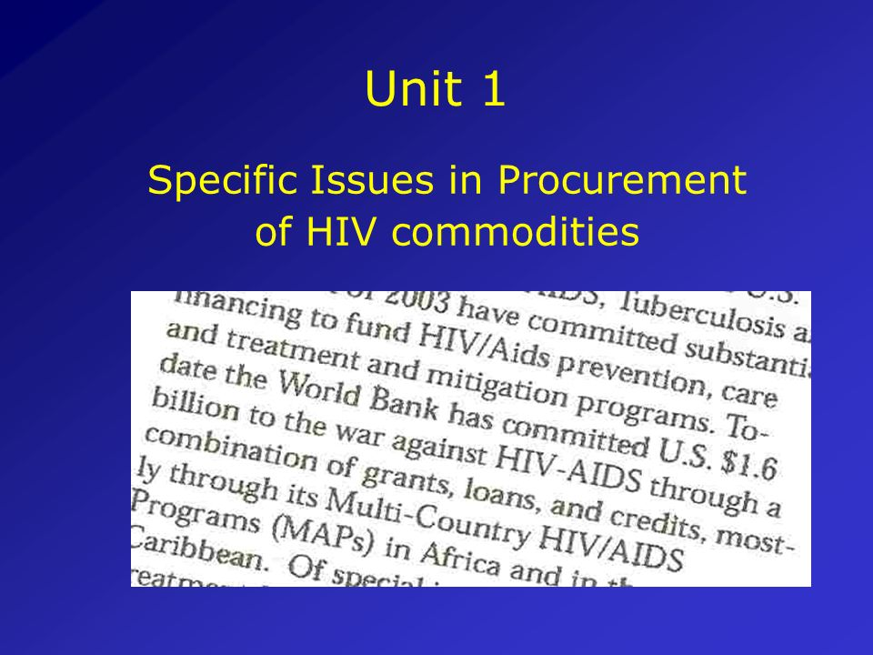 Specific Issues in Procurement