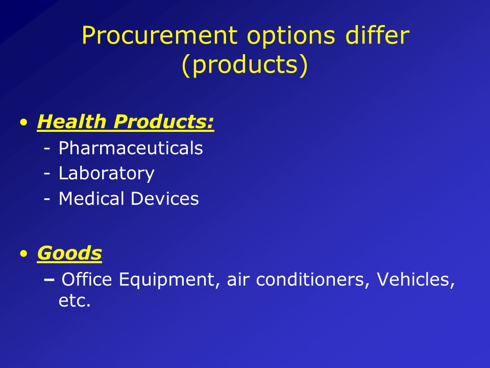 Procurement options differ (products)