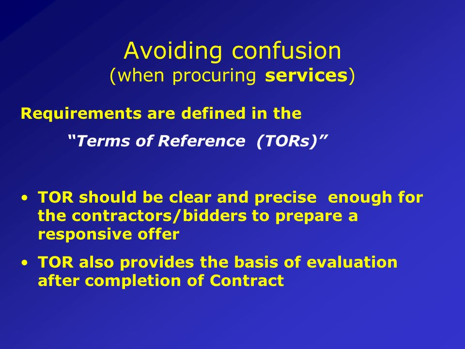 Avoiding confusion (when procuring services)