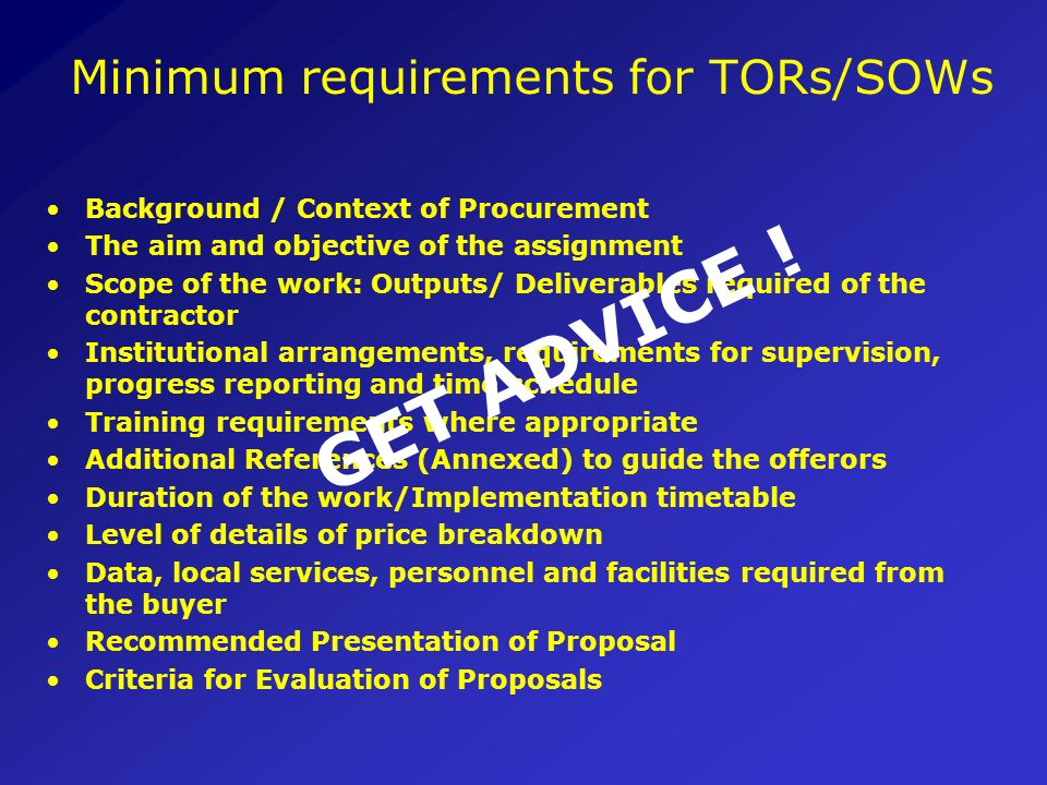 Minimum requirements for TORs/SOWs