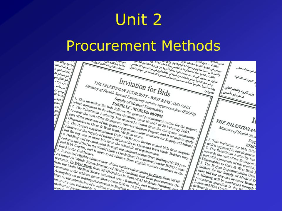 Unit 2 Procurement Methods