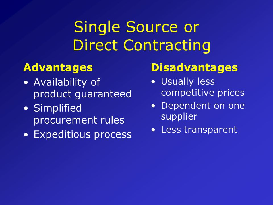 Single Source or Direct Contracting
