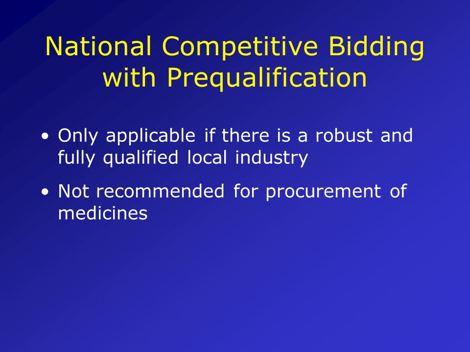National Competitive Bidding with Prequalification