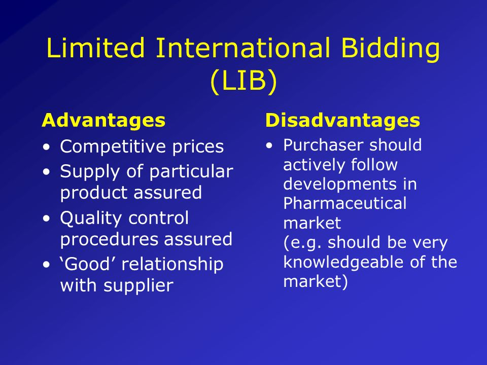Limited International Bidding (LIB)