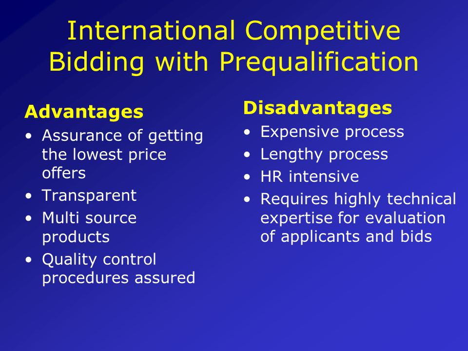 International Competitive Bidding with Prequalification