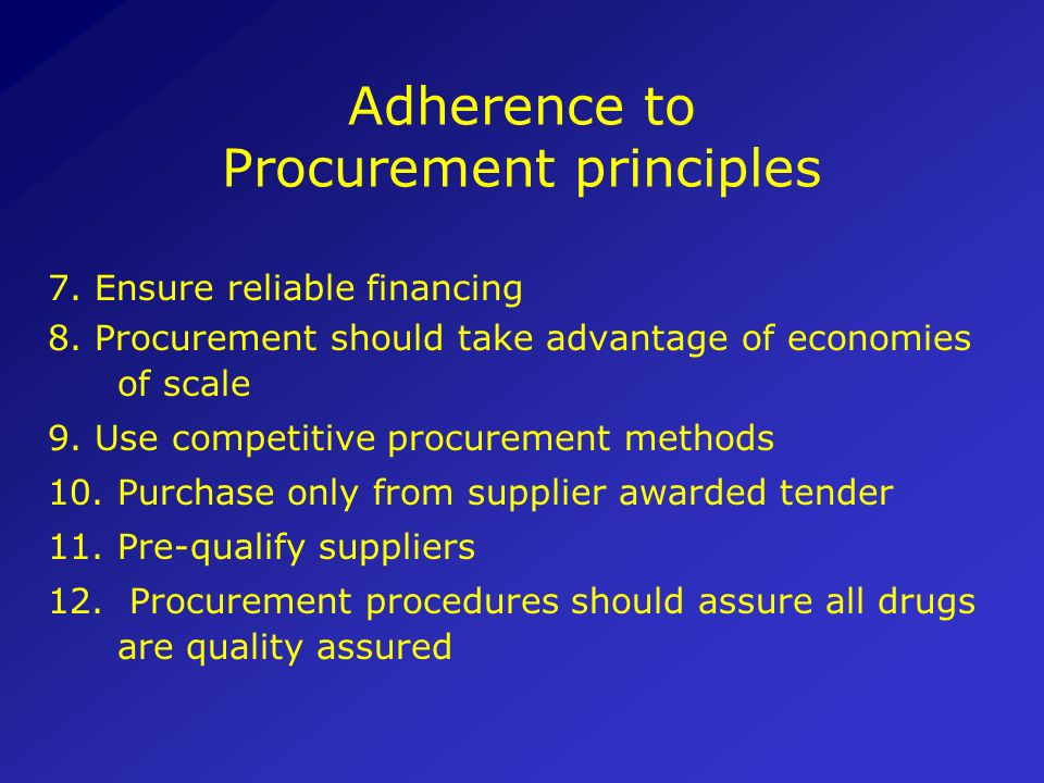 Adherence to Procurement principles